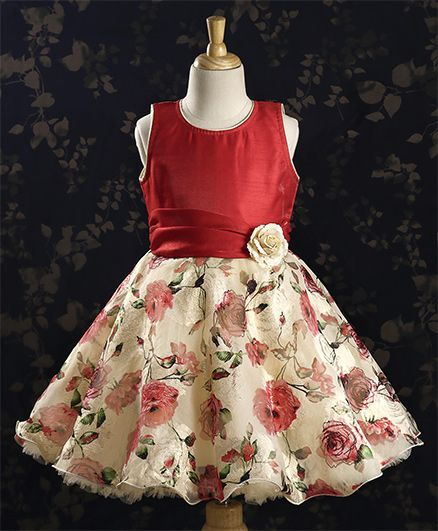 3ecc76ba3f97 Buy Bluebell Party Dress Floral Applique Maroon for Girls (12-18 ...
