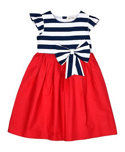 Bella Moda Striped Dress With Bow Design - Red