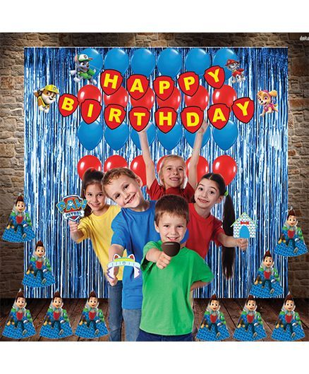 Party Propz Birthday Decoration Set Paw Patrol Theme Blue Red