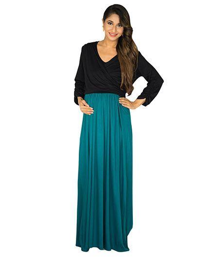 7cbb42b109 MOMZJOY Maternity & Nursing Wrap Dress Black and Teal Online in ...