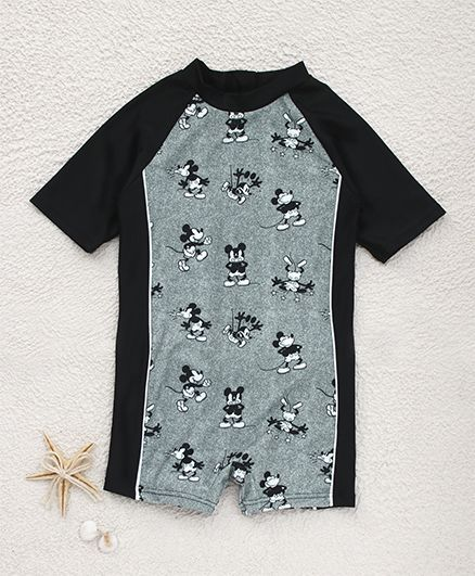 fbc42c93b Fox Baby Half Sleeves Legged Swimsuit Mickey Mouse Print - Black. 6 to 12  Months, Comfortable one piece ...