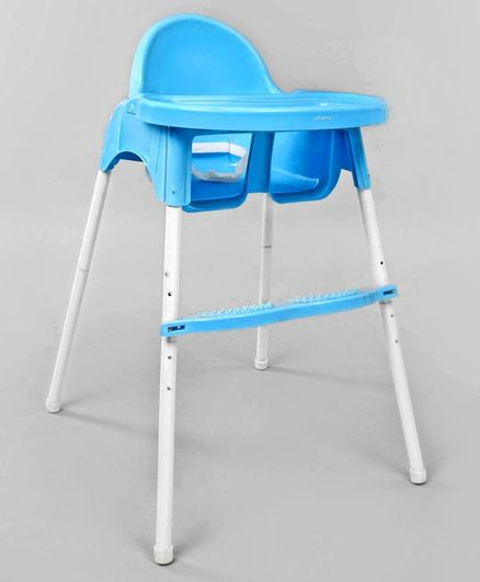 Babyhug Grace 2 in 1 Dining Chair With 2 Point Safety Harness & Anti Slip Footrest - Blue