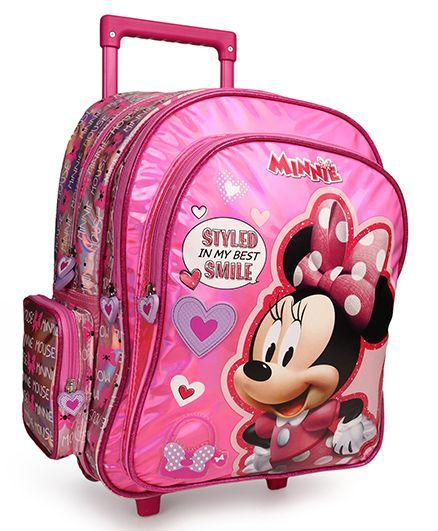 15220878e5f Disney Mickey Mouse Trolley School Bag Heart Print Pink 16 Inches ...