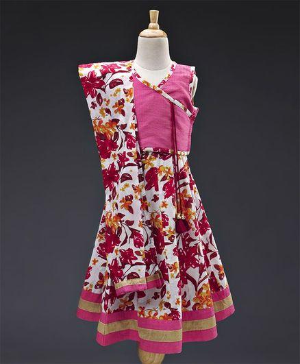 774889e82ae Babyhug Sleeveless Lehenga Choli Set With Dupatta Floral Design - Pink  Orange White. 3 to 4 ...