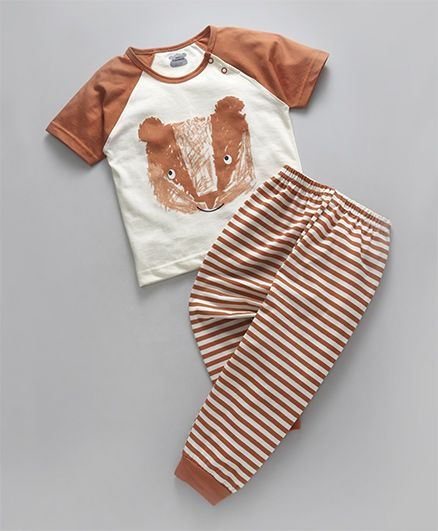 fa68c69e9 Mini Taurus Half Raglan Sleeves T-Shirt & Striped Lounge Pant Set - Rust  Orange
