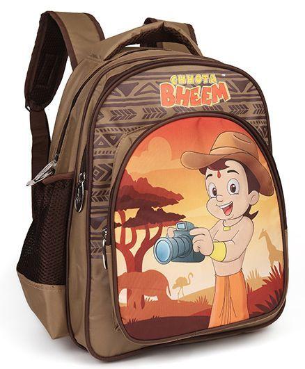 42e8cf2688e6 Chhota Bheem School Bag African Safari Print Brown 16 inches ...