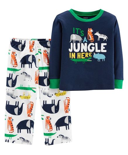 19f8ffb7d Carter s 2-Piece Jungle Snug Fit Cotton   Fleece PJs - Blue