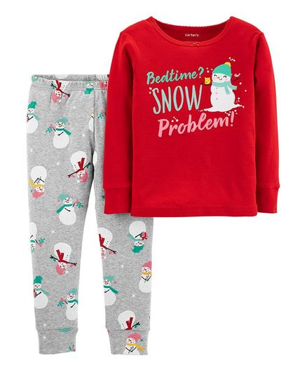 Carter's 2-Piece Christmas Snowman Snug Fit Cotton Pajama - Red & Grey