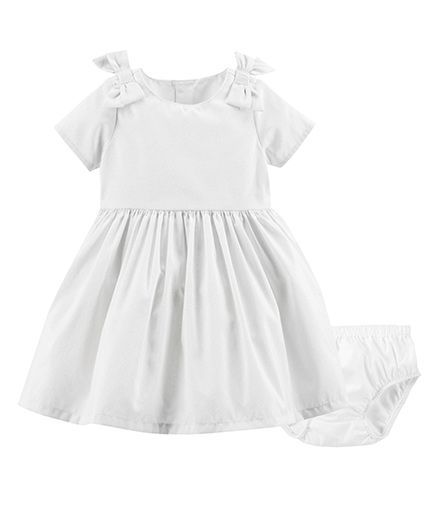 14212e038 Carter's Short Sleeves Bow Metallic Dress With Bloomer - White. 12 to 18  Months ...
