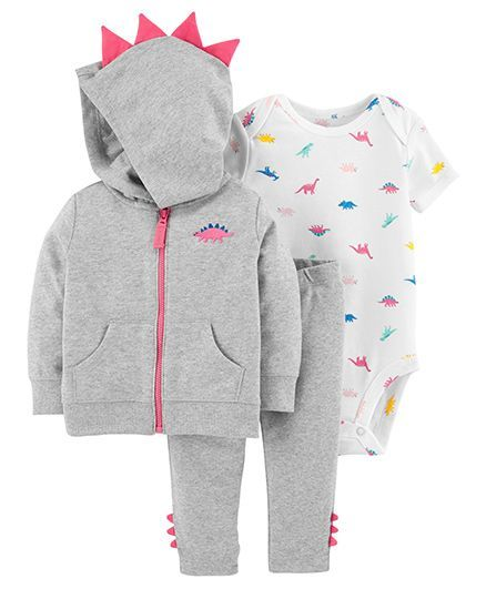 b46b112b2 Buy Carters 3Piece Dinosaur Little Jacket Set Grey for Girls (6-9 ...