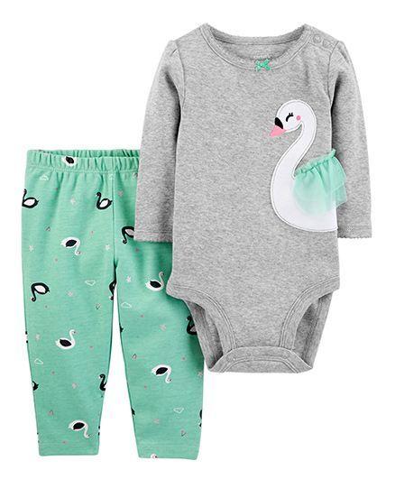 8263173c3 Buy Carters Full Sleeves 2Piece Bodysuit Pant Set Grey Green for ...