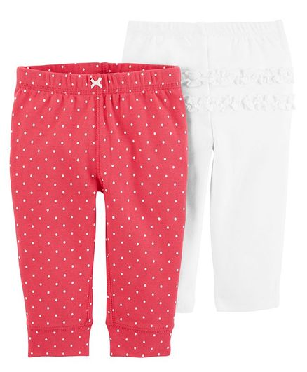 Buy Carters 2pack Pullon Pants Red White For Girls 0 3 Months
