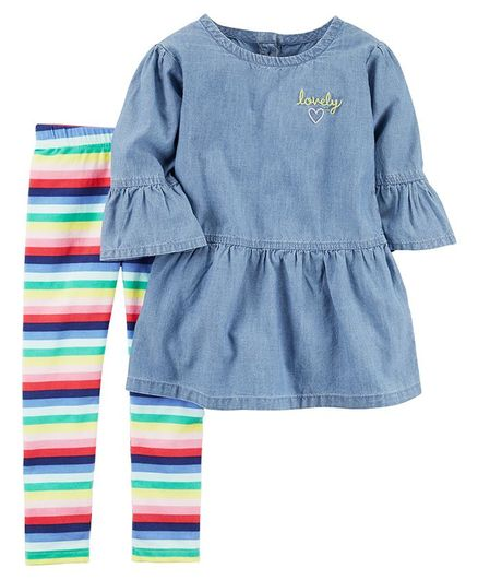 1ffa9bb3b Carter's 2-Piece Chambray Top & Striped Legging Set - Blue Multicolour