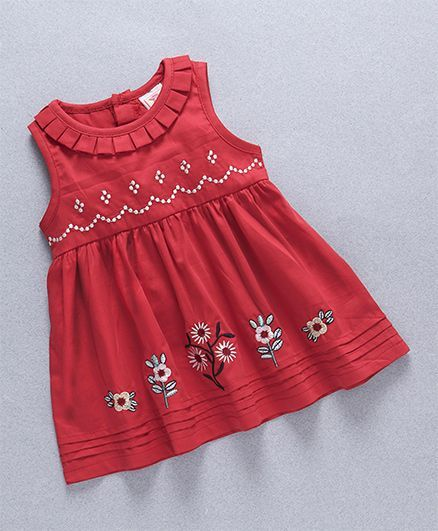 Buy Sunny Baby Floral Embroidery Dress Red For Girls 6 12 Months