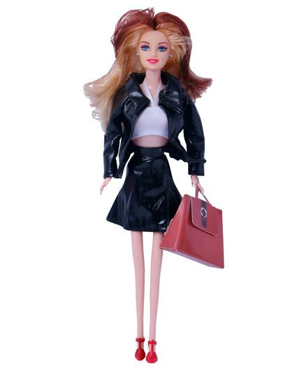 Planet Of Toys Doll With Handbag Black - 28 cm