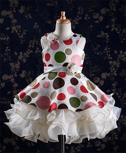 a7b1117a47b12 Buy Bluebell Polka Dots Party Wear Layered Frocks Off White for Girls ...
