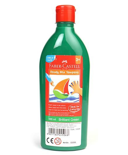 Faber Castell Ready Mix Tempera Paint Bottle Brilliant Green - 500 ml