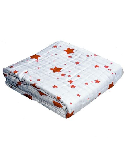 Chotto Dreamy Tales Cotton Muslin Baby Blanket Star Print - Blue & Red