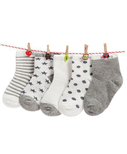 0c13a1d5 Buy Footprints Super Soft Organic Cotton Socks Pack Of 5 Grey for ...