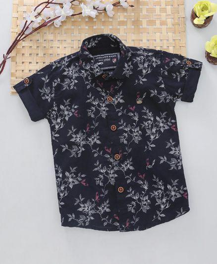 96b6de4bdee Buy Jash Kids Half Sleeves Shirt Floral Print Navy for Boys (18-24 ...
