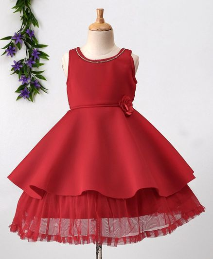35d53c59db6e Buy Babyhug Sleeveless Layered Party Wear Frock Floral Applique ...
