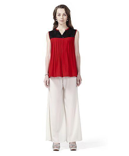f9c0145b0a137 Innovative Stylish Sequin Yoke Maternity Tunic Top & Palazzo Set - Red &  White