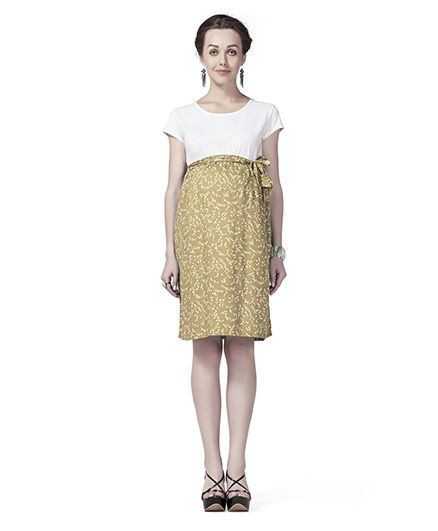 34d805b2503c Innovative Maternity A Line Floral Dress White   Beige Online in India ...