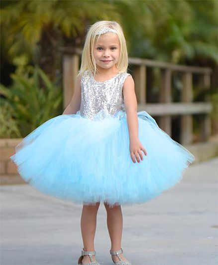 c6a4113efdb Buy Flower Girl Party Wear Dress With Shimmer Work Light Blue for ...