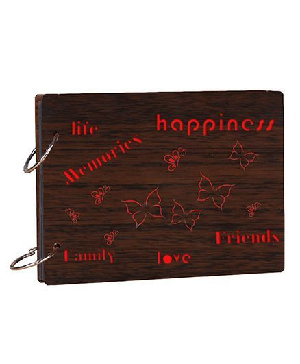 Studio Shubham Life Friends Family Memories Wooden Scrap Book - Dark Brown
