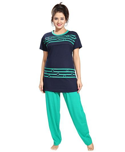dd4d72eacc Fabme Maternity Nursing Feeding Night Suit Navy Blue Online in India ...