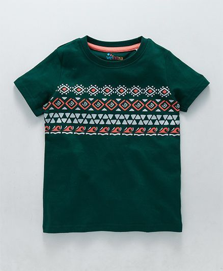 144f87944 Buy Ventra Abstract Design TShirt Green for Boys (8-9 Years) Online ...