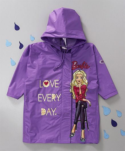 Babyhug Hooded Raincoat Barbie Print - Purple