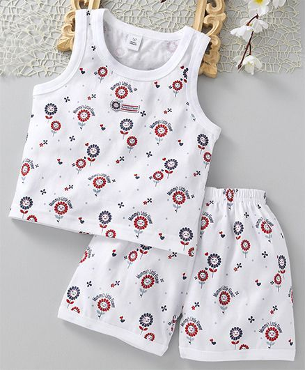 84e61d484 Buy ToffyHouse Sleeveless Night Suit Sunflower Print White for Girls ...