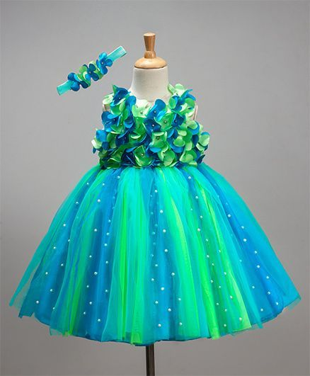 c267b4e1b949 Buy Li&Li Boutique Netted Flower Dress Blue & Green for Girls (0-3 ...
