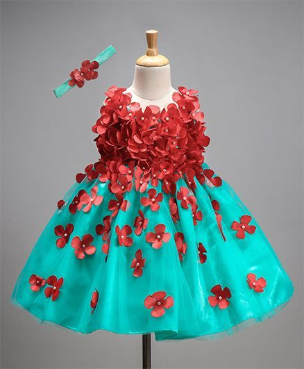 b2f154caa45c0 Buy Li&Li Boutique Netted Dress With Flower Work Blue & Red for Girls (3-6  Months) Online in India, Shop at FirstCry.com - 2023795