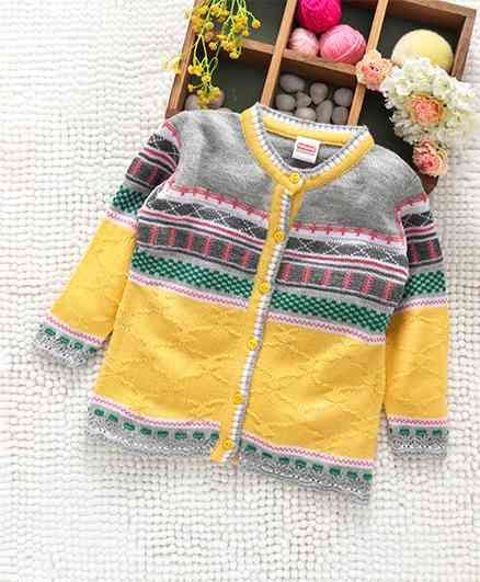 e3083b4bc Babyhug Full Sleeves Front Open Sweater Abstract Design - Yellow