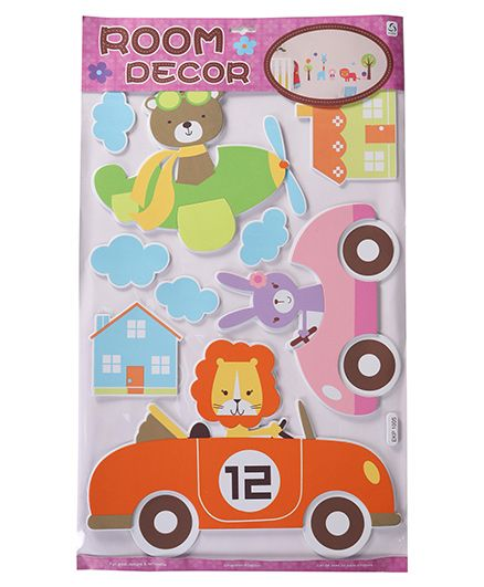 Bear & Multi Shape Room Decor Sticker - Pink Blue