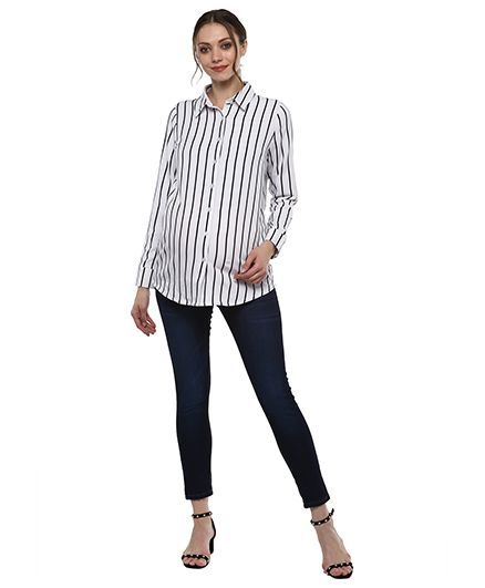 64ebd31e Momsoon Basic Stripe Shirt Black & White Online in India, Buy at Best ...
