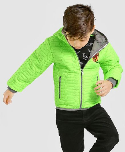 Babyhug Full Sleeves Hooded Quilt Jacket With Badge - Green