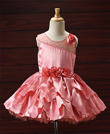 45fa31e620 Buy Enfance Rose Applique Party Wear Dress Peach for Girls (3-4 Years)  Online in India, Shop at FirstCry.com - 2047583