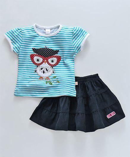 3cd2483f4ce9 Buy Olio Kids Short Sleeves Top & Corduroy Skirt Set Owl Patch Aqua ...