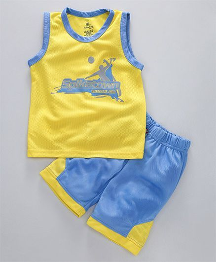 a8e65bd463 Buy Kiddopanti Volleyball Print Tee & Shorts Set Yellow for Boys (2-3  Years) Online in India, Shop at FirstCry.com - 2052895