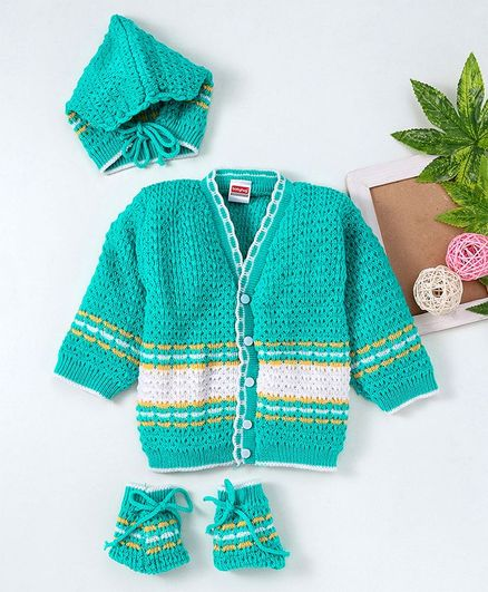 Babyhug Full Sleeves Sweater With Booties & Cap - Green