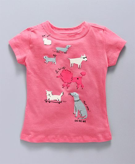 6bf2caae580e Buy Doreme Half Sleeves Top With Puppy Print Cherry Pink for Girls ...