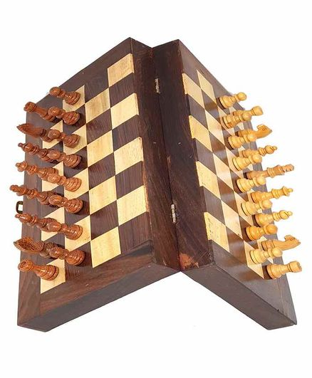 Desi Karigar Wooden Folding Magnetic Chess Board Brown - 8 inches