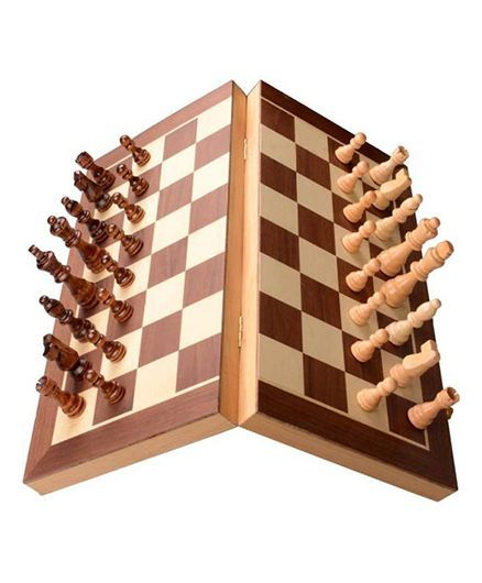 Desi Karigar Wooden Folding Magnetic Chess Board Brown - 12 inches