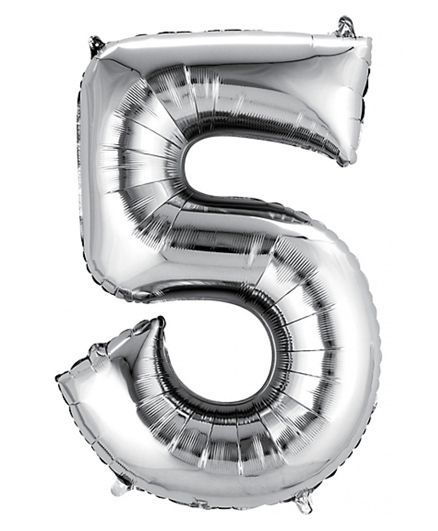 Shopperskart Helium Foil Balloon Number 5 Shape - Silver
