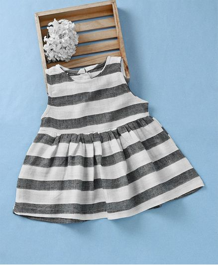 a3628fc60718 Buy Fashion Baby Striped Dress Grey   White for Girls (6-12 Months ...
