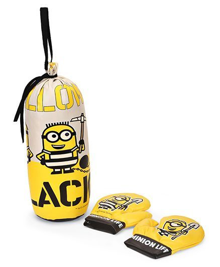 Minions Punching Bag & Boxing Gloves - Yellow