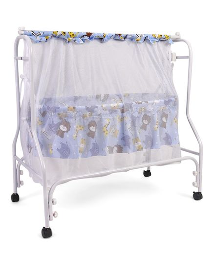 Babyhug Cozy Nest Cradle With Mosquito Net - Blue